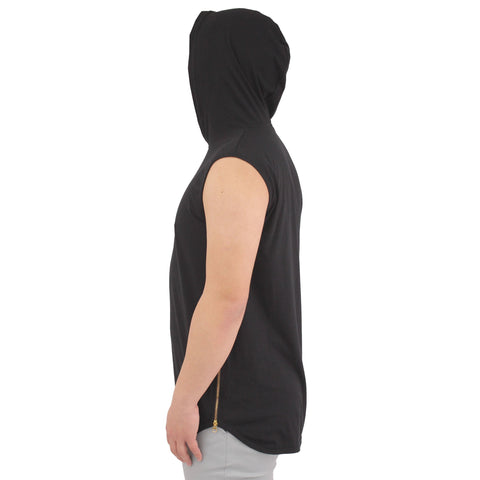 H &  W Mens Longline Hoodie Tank top Shirt w/Side Zippers and Rounded Hemline (Size S to 3XL)