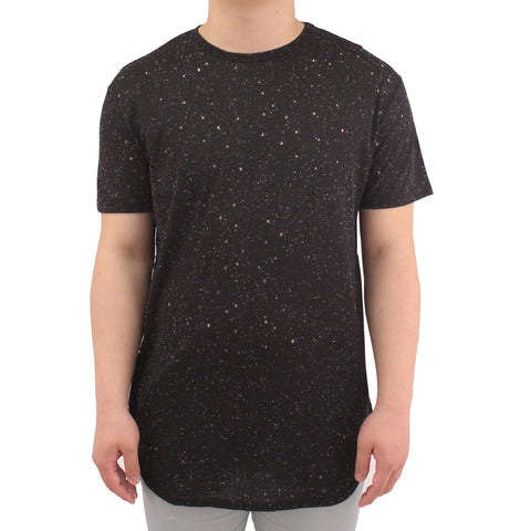 H &  W Men's Neppy Pattern Longline Crewneck T-Shirt with Size Zipper
