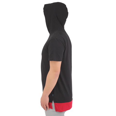 H & W Mens Biker Embossed Pattern Pocket Longline T-Shirt