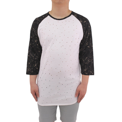 H &  W Men's 3/4 Sleeve Raglan T-Shirt with Print Hole