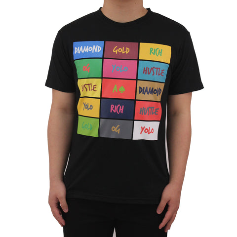 Henry & William Men's Hipster Hip Hop Multi Color Urban Text Graphic T-Shirt