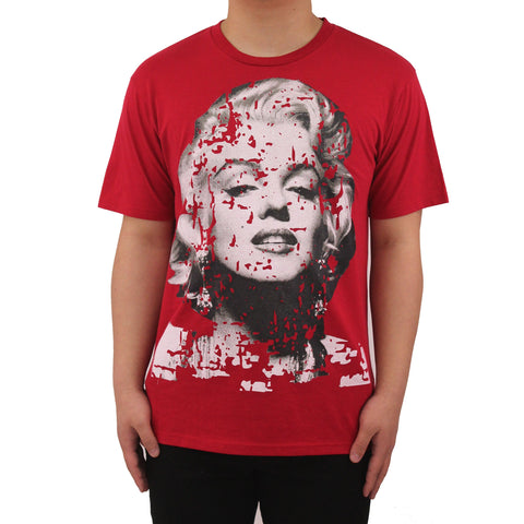 H & W Men's Hipster Marilyn Monroe Face Graphic T-Shirt
