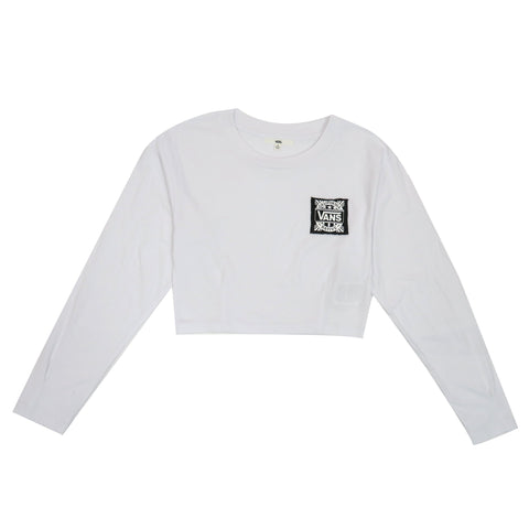 Vans Women's Cali Native Long Sleeve Crop Top-Black