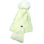 Pompom Knit Warm Fleece Lined Beanie Hat with detachable face cover