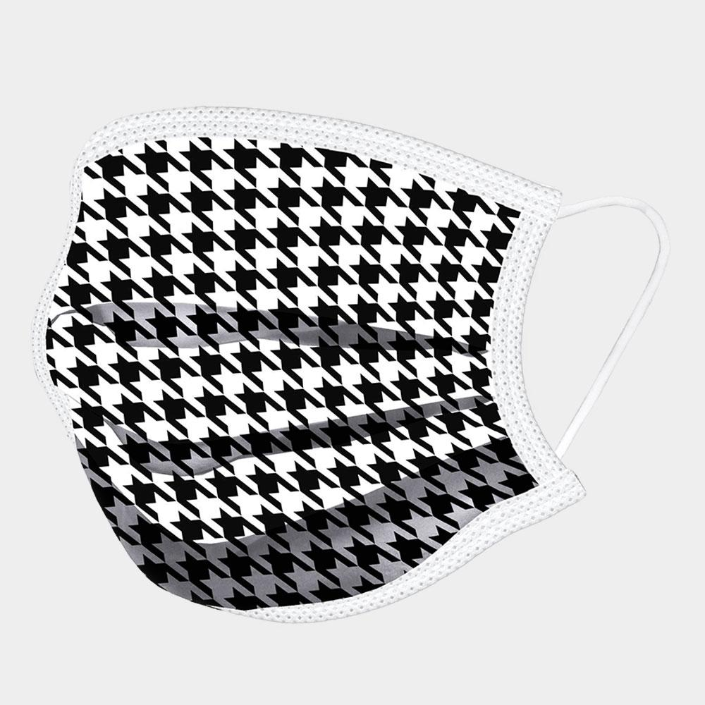 HOUNDSTOOTH PRINT COTTON NON-MEDICAL FASHION MASK