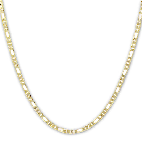 Gold Plated  Unisex Figaro Chain 7mm - 20 inches, 24 inches, 30 inches