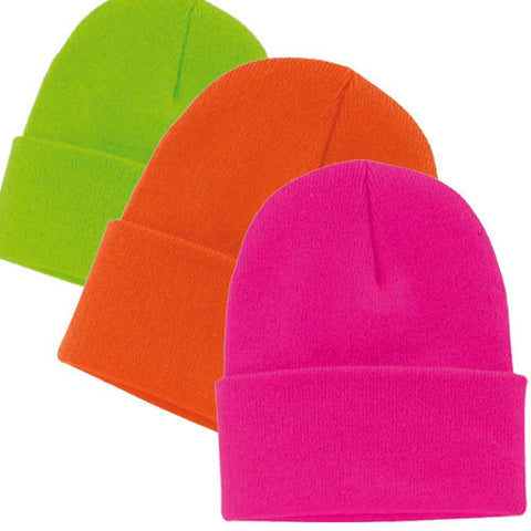 Unisex Neon Knit Long Cuff Ski Plain Beanie Hats