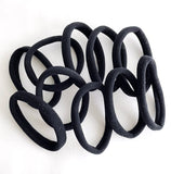 Thick Seamless Cotton Hair Bands, Simply Hair Ties Ponytail-Black