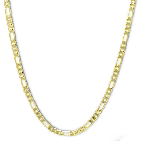 Gold Plated  Unisex Figaro Chain 8mm - 20 inches, 24 inches, 30 inches