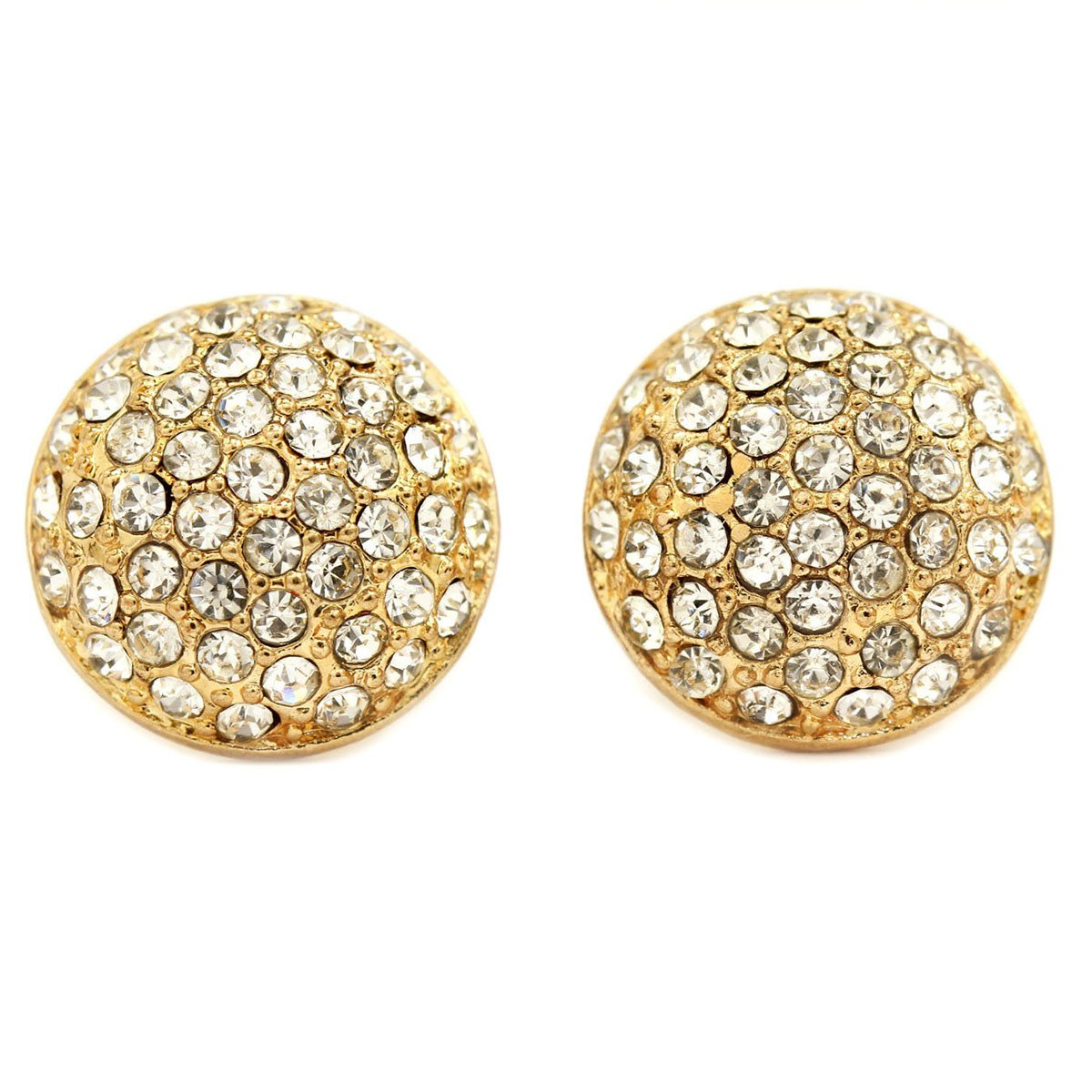 Gold Plated Pave Crystal Round Clip On Earrings   gemgem jewelry.myshopify.com
