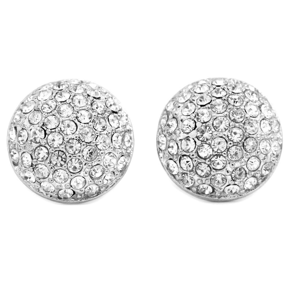 Rhodium Plated Pave Crystal Round Clip On Earrings   gemgem jewelry.myshopify.com