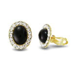 Load image into Gallery viewer, Pave Crystal Black Epoxy Clip on Earrings -24mm