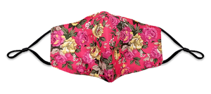 Rose Pattern Colorful Reusable Non- Medical Fabric Face Mask W/ Filter Pocket