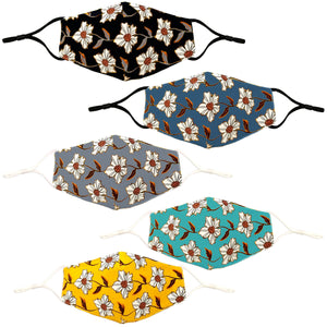 Flower Pattern Reusable Non- Medical Face Mask W/ Filter Pocket-Labor Day Special