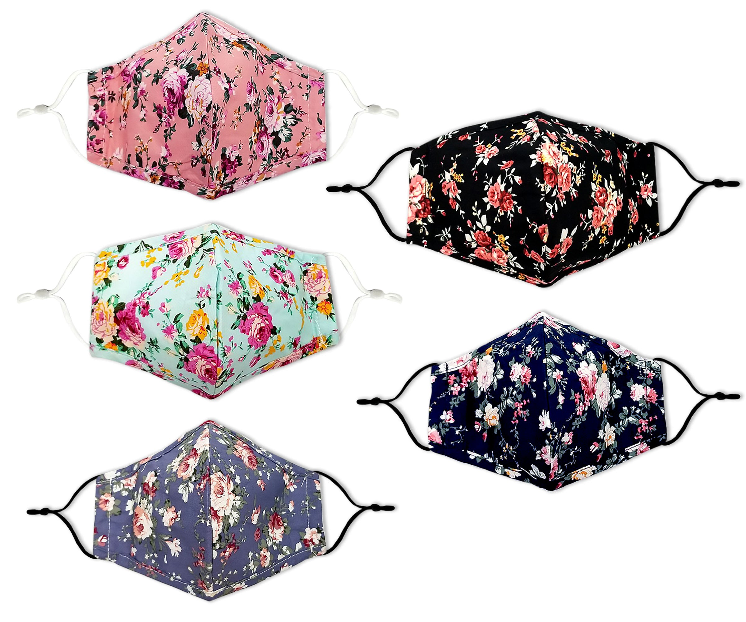 Flower Print Reusable Non- Medical Cotton Face Mask W/ Filter Pocket