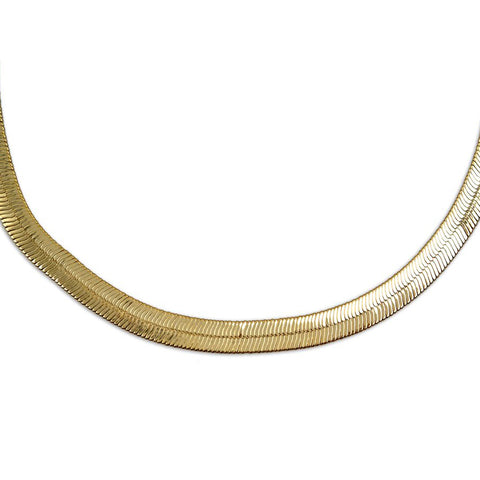 Gold Plated  Unisex Herringbone Chain 8mm - 20 inches, 24 inches, 30 inches