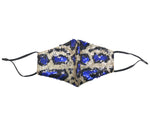 Load image into Gallery viewer, LEOPARD SEQUIN EMBELLISHED COTTON FASHION MASKS W/ Filter Pocket