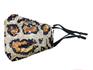 LEOPARD SEQUIN EMBELLISHED COTTON FASHION MASKS W/ Filter Pocket