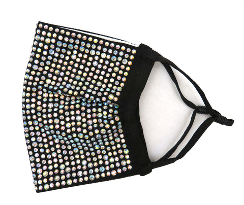 Rhinestone Stretchable face mask, Reusable washable, Fashionable Triple layer well fit