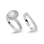 Load image into Gallery viewer, Rhodium Plated Oval Cut CZ Wedding Ring Set