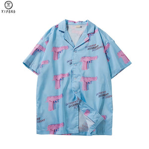 Gun Print Sky Blue Beach Hawaiian Aloha Shirts