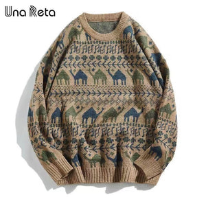 Men Retro Print Pullover Pull Casual Loose Soft Sweatshirts