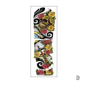 Eye Clock Bird Pagoda Full Arm Large Size Waterproof Temporary Tattoo Sticker