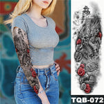 Load image into Gallery viewer, Large Arm Sleeve Tattoo Midnight Leopard Beauty Girl Waterproof Temporary Tattoo Sticker Moonlight Rose Full Skull Tatoo Women