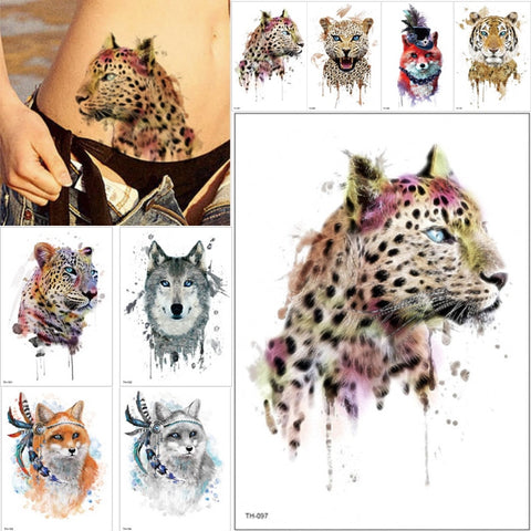 Leopard Wolf Tiger Animals Pattern Waterproof Temporary Tattoo Sticker- 21cm x 15 cm
