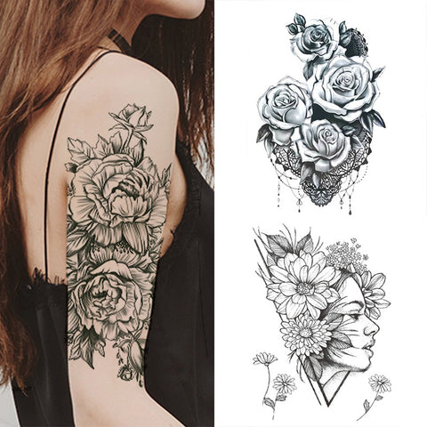 1 PC Fashion Women Black Roses Design Full Flower Arm Temporary Tattoo Sticker
