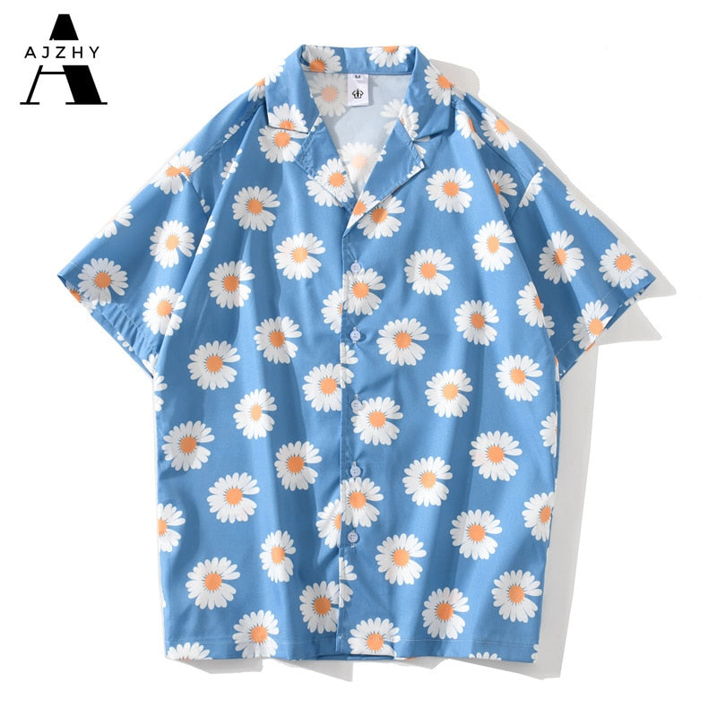 Daisy Flower Print Hip Hop Hawaiian Shirts