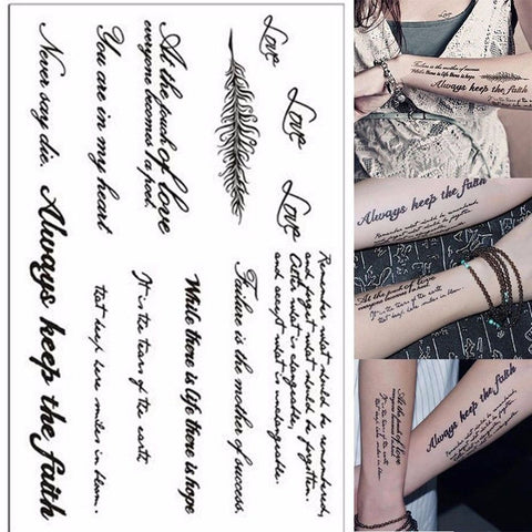 English Word sexy romantic Waterproof Temporary Tattoos Stickers