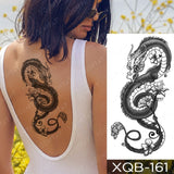 Waterproof Temporary Tattoo Sticker Dragon Lotus Plum Rose Tattoos Sword Snake Body Art Arm Fake Sleeve Tatoo Women Men