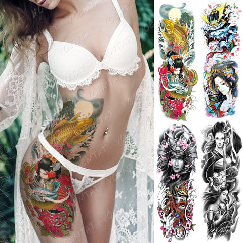 Large Arm Sleeve Tattoo Japanese Geisha Waterproof Temporary Tattoos Stickers