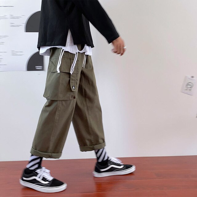 Hipster Men's Solid Color Straight Wide Loose Cargo Pants