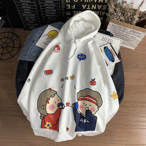 Funny Cartoon Printed Casual Couple Pullovers Hoodies Sweatshirts