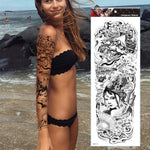 Load image into Gallery viewer, Realistic Full Arm Enjoy Flower Indian Tribal Totem waterproof Temporary Tattoos Sticker