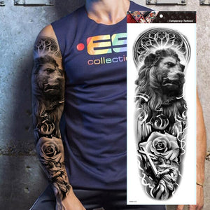 Realistic Full Arm Enjoy Flower Indian Tribal Totem waterproof Temporary Tattoos Sticker