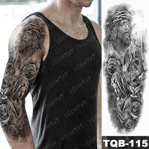 Large Arm Sleeve Tattoo Hell Devil Satan Lucifer Waterproof Temporary Tattoos Stickers