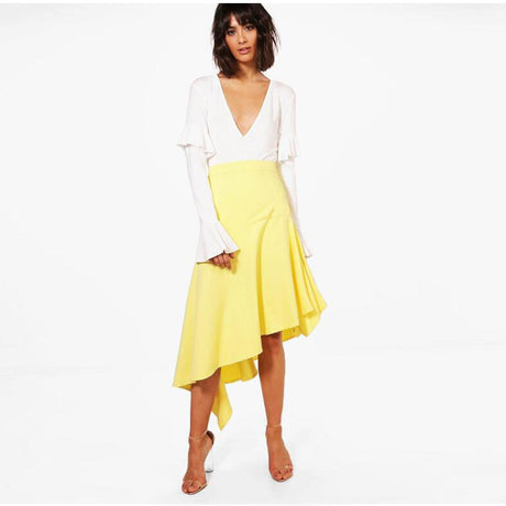 Women's Lemon Yellow Color Asymmetrical Satin Skirts