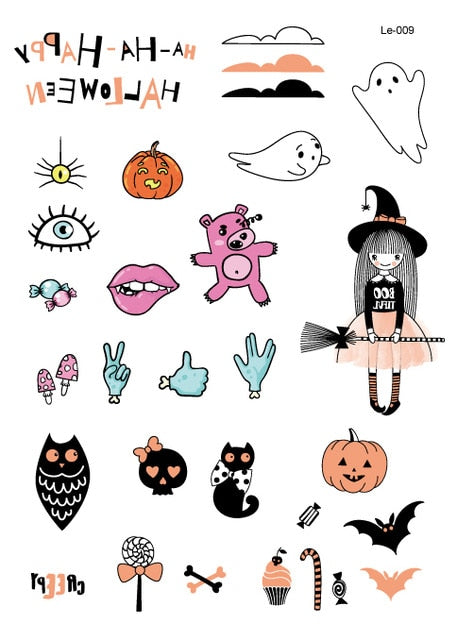 Rocooart Halloween Luminous Glowing in Dark Waterproof Temporary Tattoo Stickers