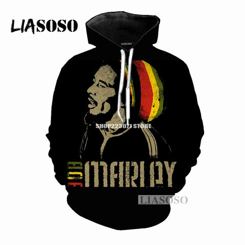 Men & Womens Bob Marley 3D Print Pull Over Hoodie