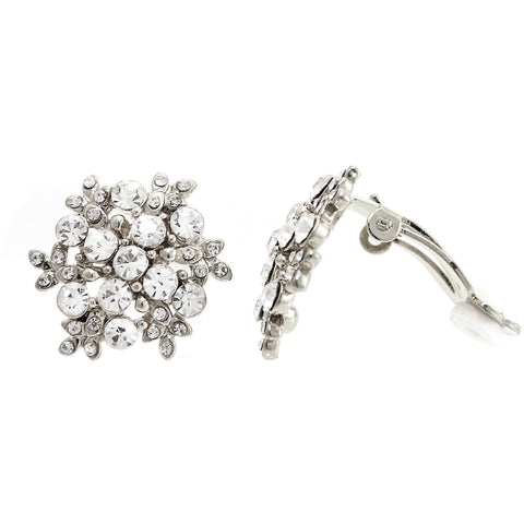 Snow Pattern Pave Crystal Clip On Earrings   gemgem jewelry.myshopify.com