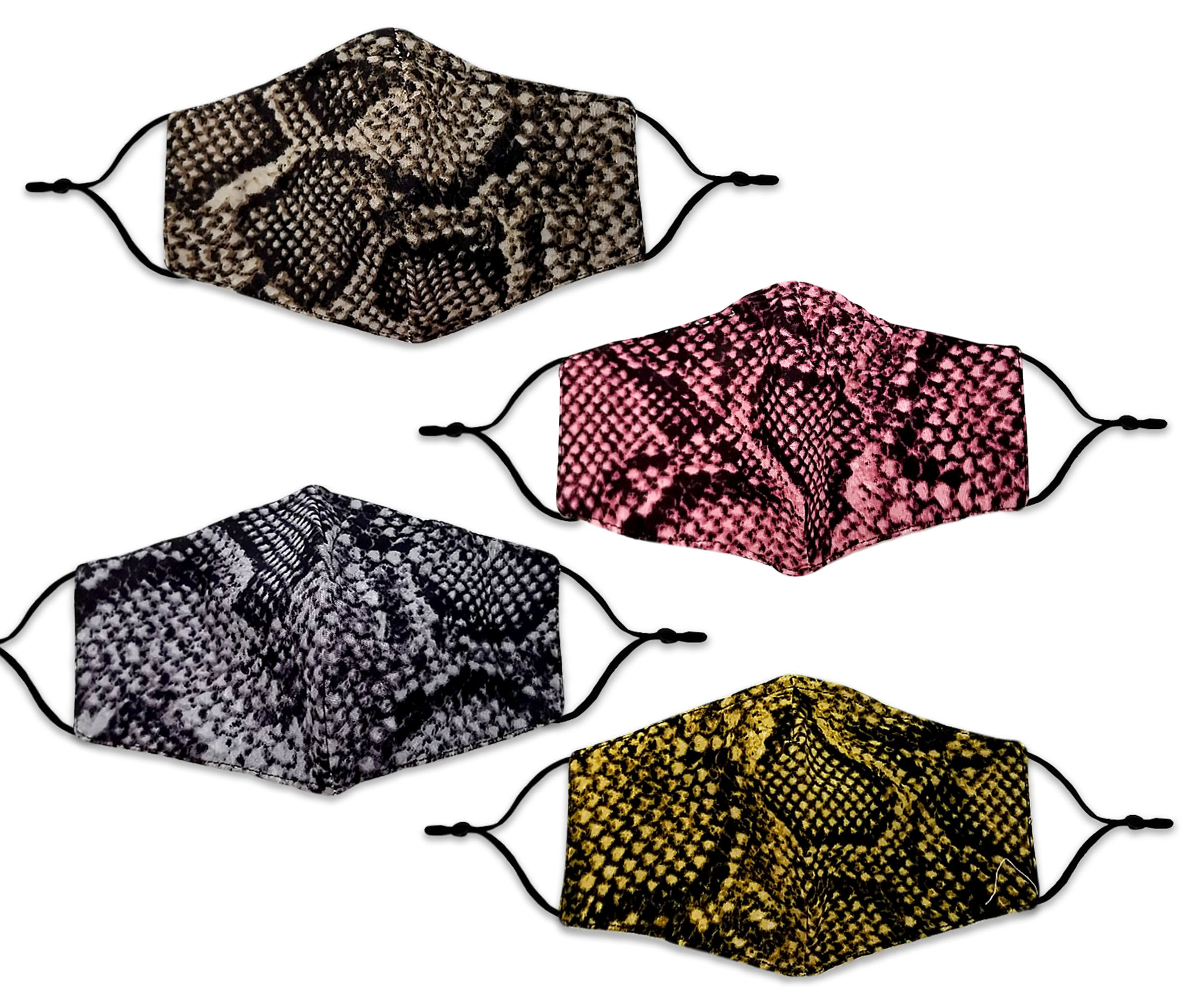 Snakeskin Pattern Reusable Non- Medical Fabric Face Mask W/ Filter Pocket