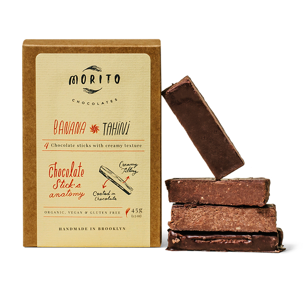 Our fruitiest chocolate stick with a pronounced banana flavor and nutty notes from the combination of banana, tahini, and roasted cacao nibs. Our artisan and creamy chocolate confections are organic, vegan, gluten-free and low in sugar. We use simple ingredients, and produce our chocolates in small batches without added preservatives.