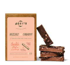 Our Hazelnut Cinnamon chocolate stick has a balanced, nutty, and fruity profile in combination with cinnamon and the beautiful hazelnut flavor. Made with 68% cacao, organic dark chocolate.  These Hazelnut Cinnamon chocolate sticks are organic, vegan, gluten-free and low in sugar. We use simple ingredients, and produce our chocolates in small batches without added preservatives.