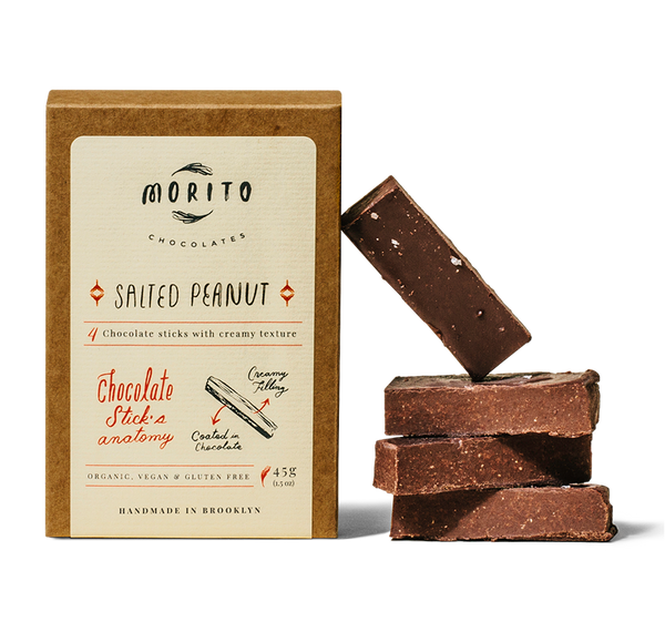 This classic chocolate stick marries the flavor of roasted peanuts and roasted cacao nibs, with a touch of Himalayan salt to make all the flavors shine.   These Salted Peanut chocolate sticks are organic, vegan, gluten-free and low in sugar. We use simple ingredients, and produce our chocolates in small batches without added preservatives.