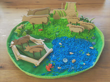 Sensory Play Farm Kit, wooden animals, sensory rice and a string bag to hold everything.