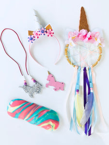 Unicorn crafts, unicorn headband, unicorn dreamcatcher, unicorn necklace, unicorn slime
