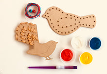 Threading Birds - use primary colours to paint and develop fine motor skill threading the birds.
